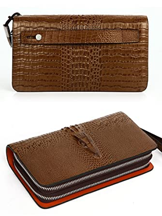 Everdoss Herren Damen echt Leder Geldbörse lang Portemonnaie Clutch  Geldklammer mit doppel Reißverschluss und Gurt braun 843afeb5aa