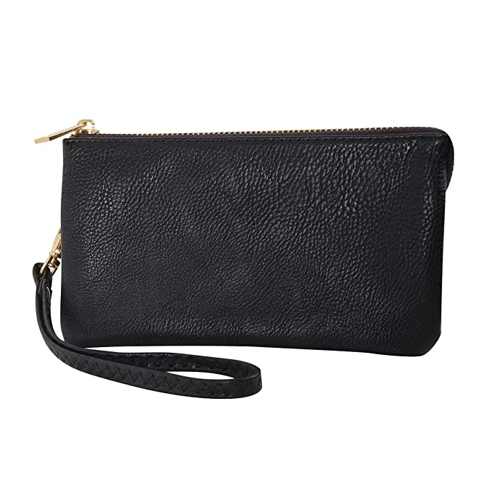 1caad306050d Humble Chic Vegan Leather Wristlet Wallet Clutch Bag - Small Phone Purse  Handbag, Black