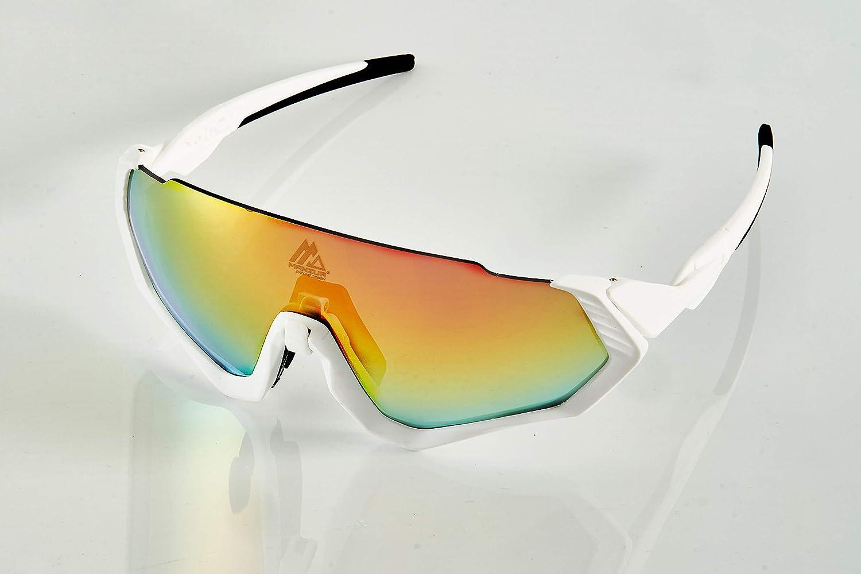 Manzur Cycling Design Gafas de Sol Deportivas. CE Certificación. Fotocromáticas, polarizadas, protección UV 400. Lentes Intercambiables. Puente Nasal Ajustable. Material TR90 Flexible e irrompible.