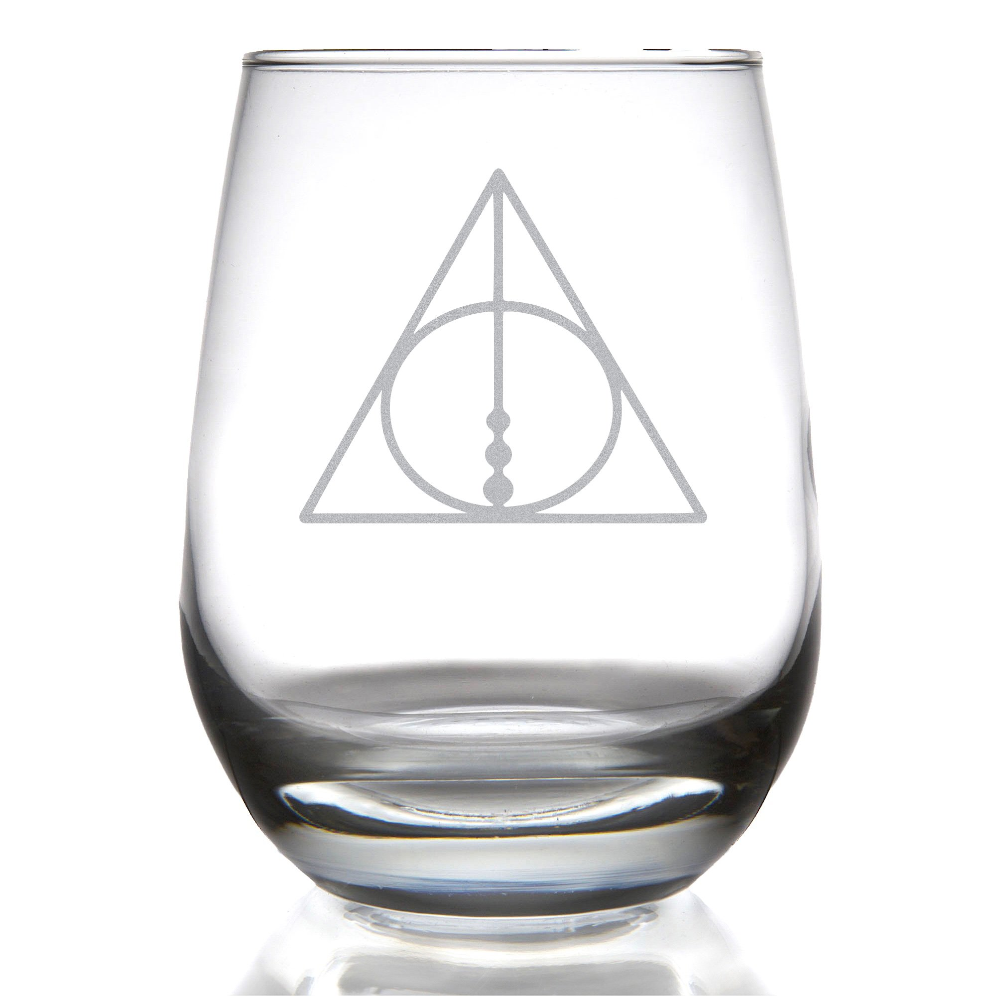 The Deathly Hallows Stemless Wine Glass