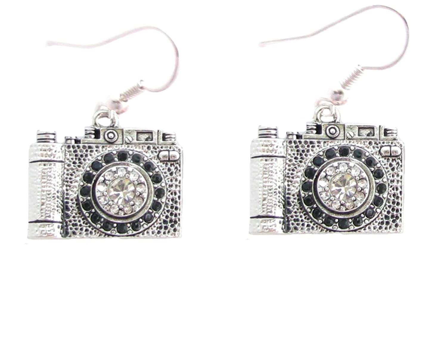 Camera Clear Crystals Fashion French Hook Earrings Jewelry