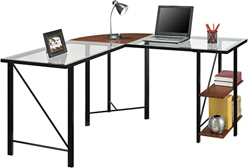 Ameriwood Home Cruz Glass Top L Desk