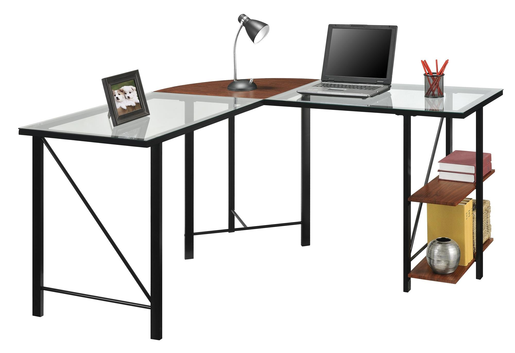 Ameriwood Home Cruz Glass Top L Desk, Cherry by Ameriwood Home