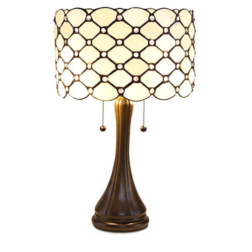 Serena D italia Tiffany Style Table Lamps Contemporary, Diamond Pattern Stained Glass Lamp with Jewels, Standing Lamp with Double Pull Chain White