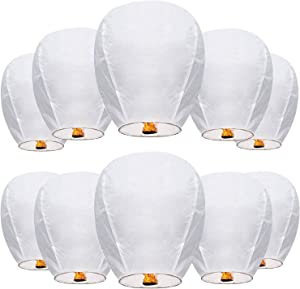 Chinese Wishing Lanterns 100% ECO Friendly Biodegradable Paper Sky Lanterns with Fire Resistant Paper for Weddings Birthdays Memorials and Celebration Events (10 Pack)
