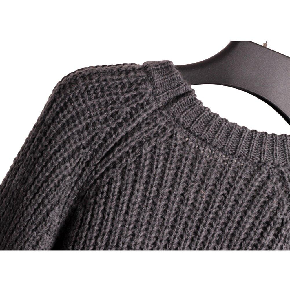 36dc32f5996b Eleery Women New Plain Oversized Round Neck Long Sleeve Knit Sweater ...