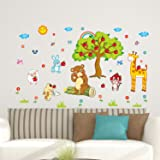 Amazon Brand - Solimo Wall Sticker for Kids' Room (Jungle Joy, Ideal Size on Wall: 170 x 100 cm)