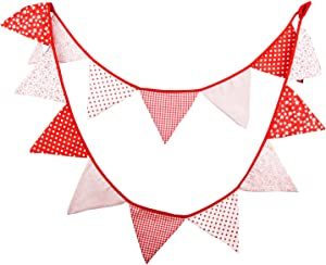 INFEI Red Vintage Fabric Flags Bunting Banner Garlands for Wedding, Birthday Party, Outdoor & Home Decoration