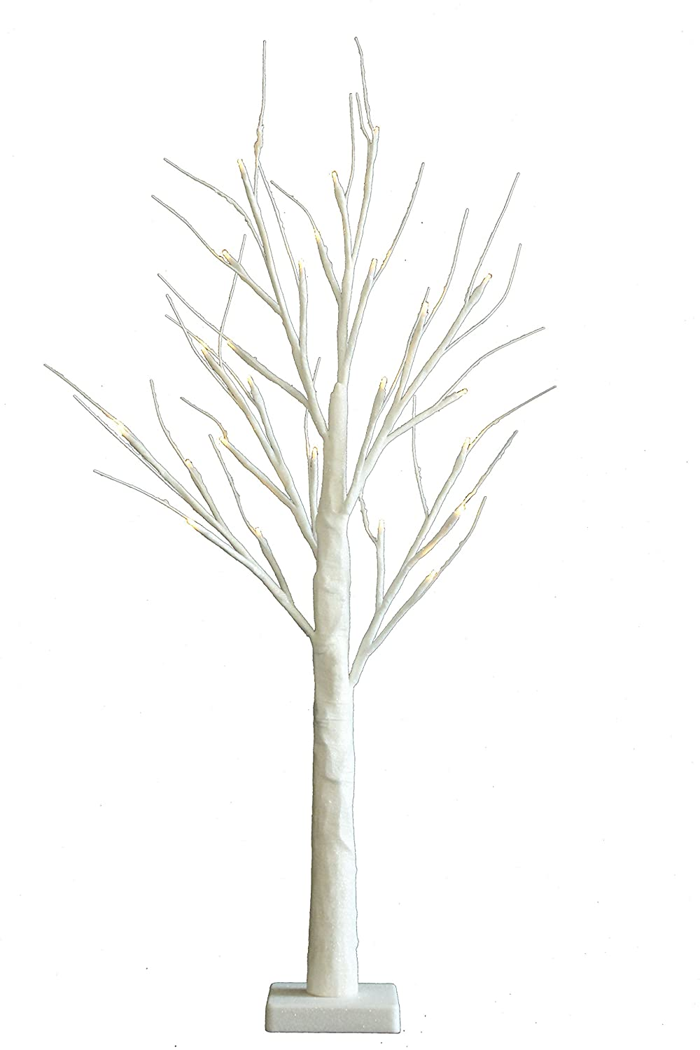 2ft/70cm White Sparkle Christmas Twig Tree Pre-Lit 24 LEDS Battery Operated (16 pack of baubles included) Jaymark Products