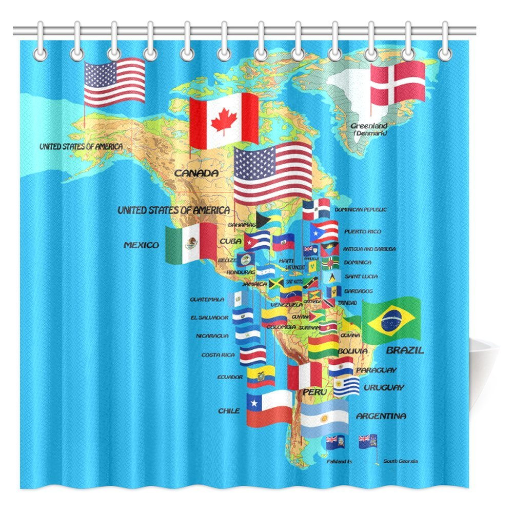 InterestPrint North and South America Flags with Names Globe Earth Educational Traveler Geographic Fabric Bathroom Shower Curtain, 72 X 72 Inches Extra Long