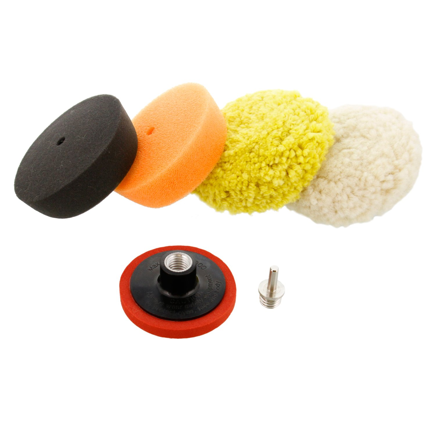 TCP Global 3'' Mini Buffing and Polishing Pad Kit with 4 Pads, Backing Plate, and 1/4'' Drill Adapter