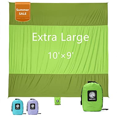 WEKAPO Sand Proof Beach Blanket, Extra Large Oversized 10'X 9', Big & Compact Sand Free Mat Quick Drying, Lightweight & Durable 6 Stakes & 4 Corner Pockets …
