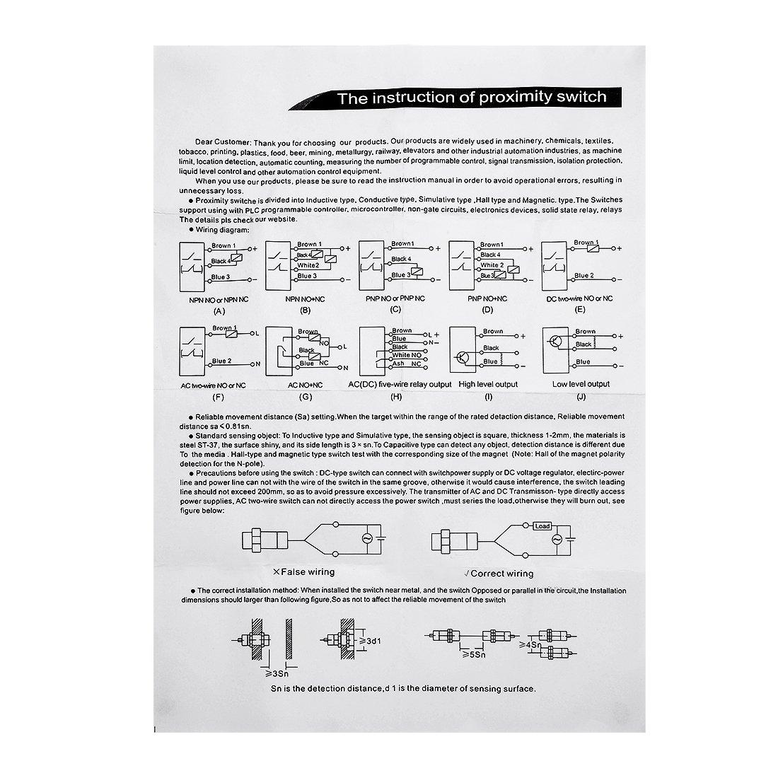 uxcell LJC12A3-A-Z/AY 1-5mm Capacitance Proximity Sensor Switch PNP ...