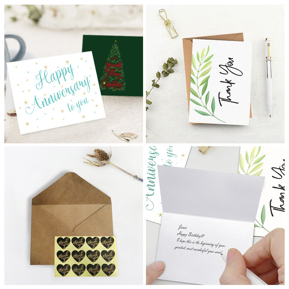 LATIT Greeting Cards, 40 Pack Assortment, with Envelopes for All Occasion, 4 Designs Assorted Included Happy Birthday,Anniversary,Thank You,Merry Christmas, Blank Inside with Stickers, 5 x 7 Inches