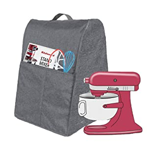 Blender Dust Cover,Desktop mixer dust cover,Stand Mixer Cover,Coffee Maker Cover and Toaster Machine Cover for 4.5/5/6/7 Quart KitchenAid Mixer (Fits for 4.5/5/6/7 Quart, Grey)