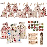 IMIKEYA 24pcs Christmas Advent Calendar Linen Small Bags Hanging Advent Garland Drawstring Gifts Bags Stickers Candy…