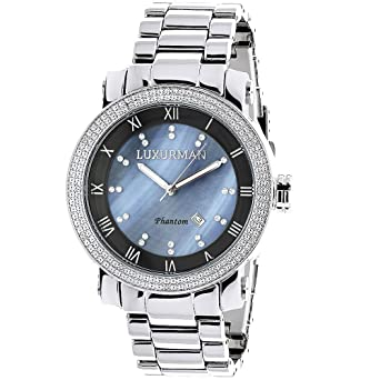 8de29d3c9e0 Mens Diamond Watch 0.12ctw of diamonds by Luxurman Blue MOP