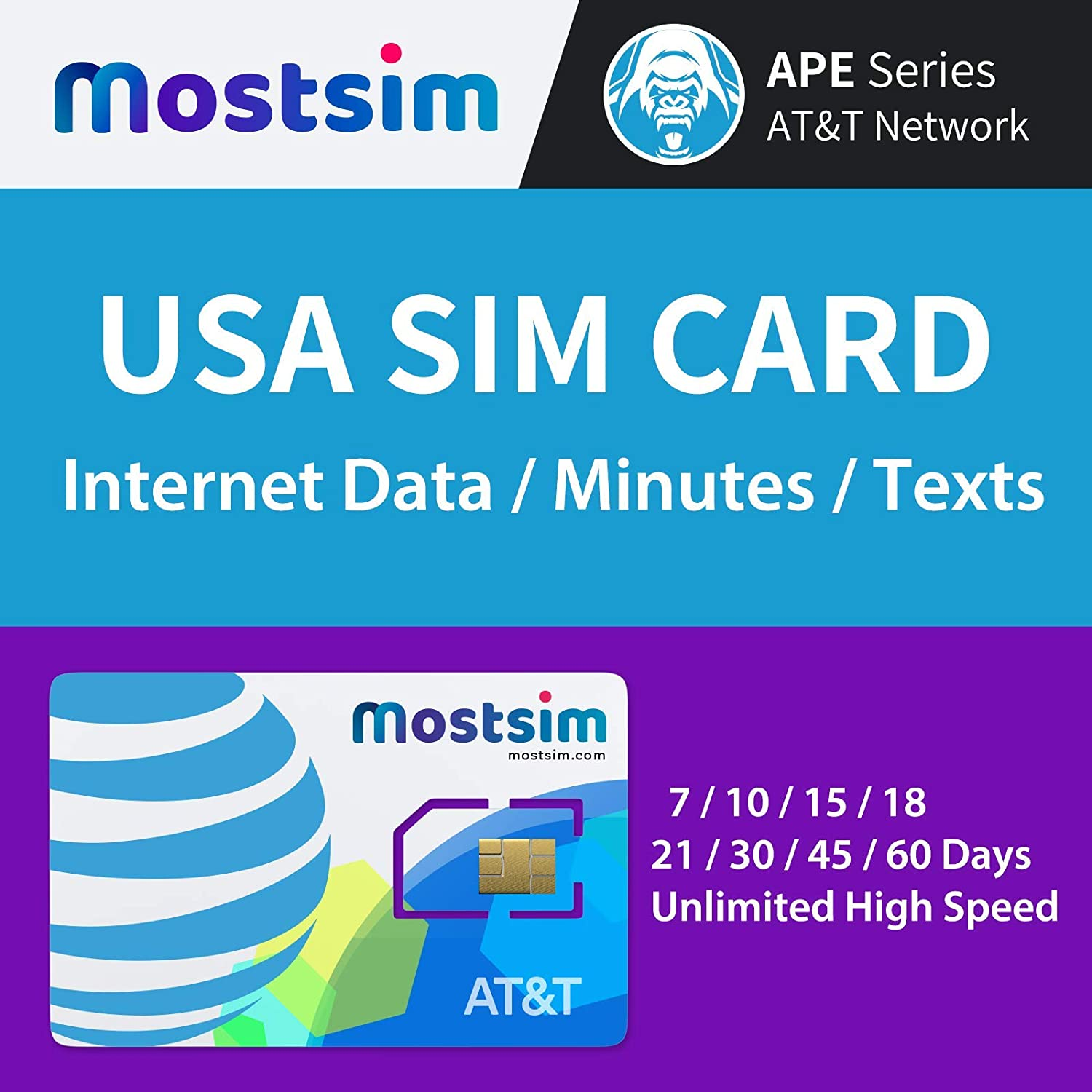 Unlimited High Speed Data//Calls//Texts MOST SIM AT/&T USA SIM Card 21 Days AT/&T Network for USA