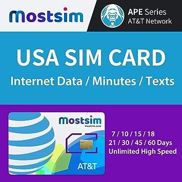 Most SIM - AT&T EE.UU. Tarjeta SIM 18 Días, Datos a Alta Velocidad/Llamadas/Mensajes de Texto Ilimitados, Red AT&T para EE.UU.