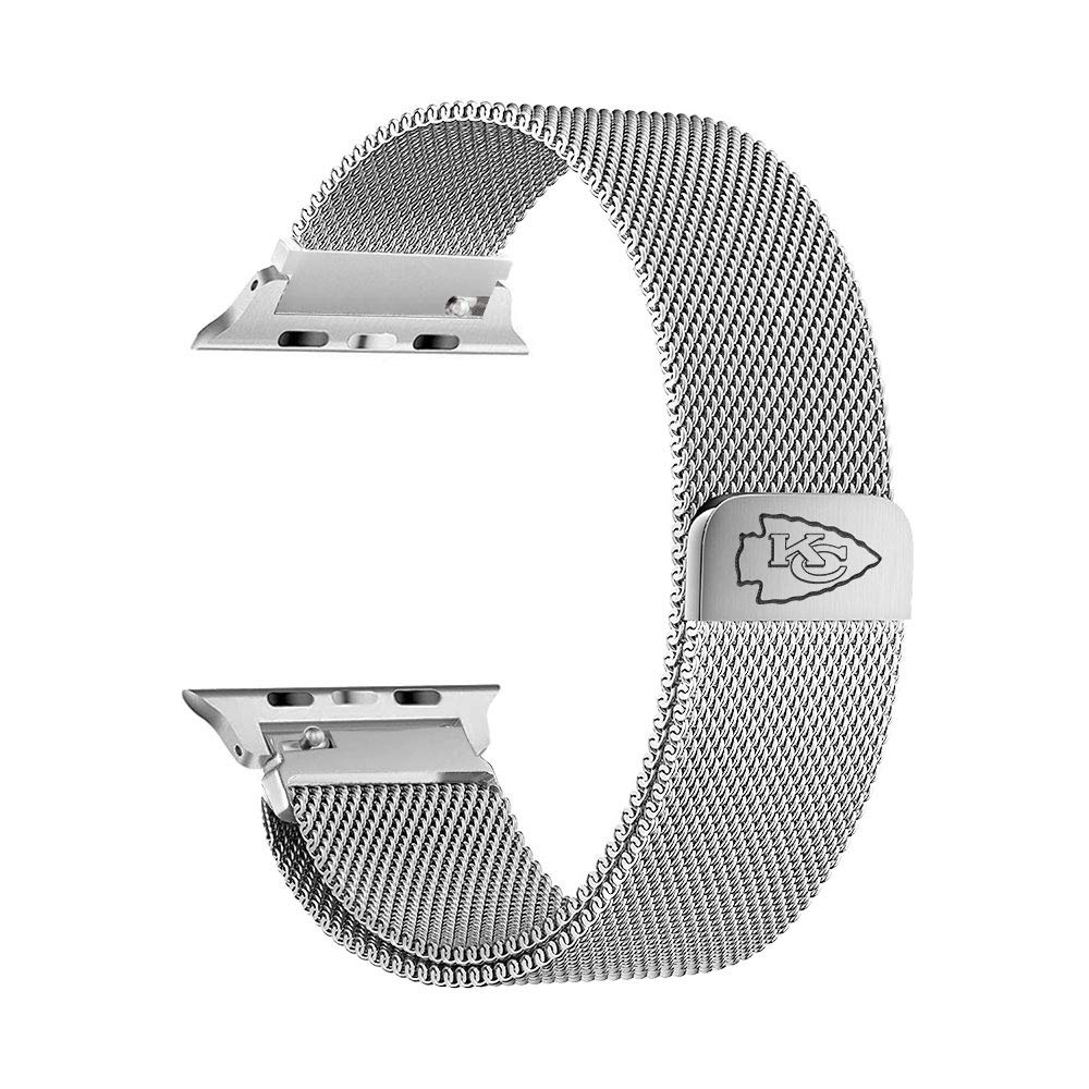 Game Time Kansas City Chiefs Stainless Steel Mesh Band Compatible with Apple Watch - 38mm/40mm by Game Time
