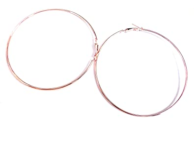 Amazon Com Large Rose Gold Hoop Earrings Gold Plated 4 Inch Hoop
