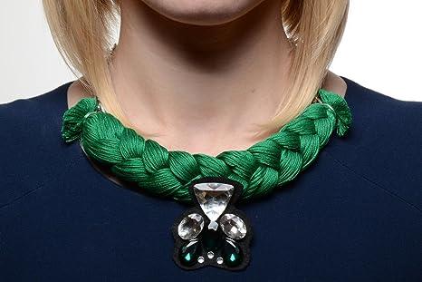 805a10118768 Collar trenzado de hilos y cadena con estrases de mujer voluminoso artesanal