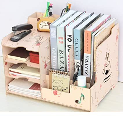 JXBOOS BookshelfWooden Desktop Storage Box Office Rack Data File Holder Clip Pen