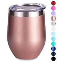 SUNWILL Insulated Wine Tumbler with Lid Rose Gold, Double Wall Stainless Steel Stemless...