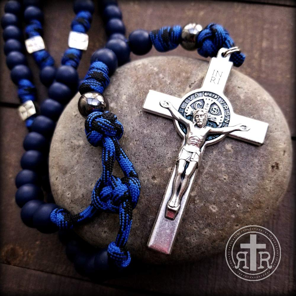 BLUE Power Meditation ROSARY -Strong Rosary - St. Benedict