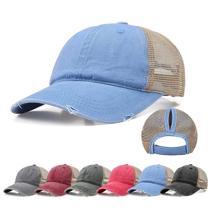 728f380b5 Doannotium Ponytail Baseball Cap Retro Washed Cotton Visor Dad Hat  Adjustable Trucker Ponycaps (Blue)