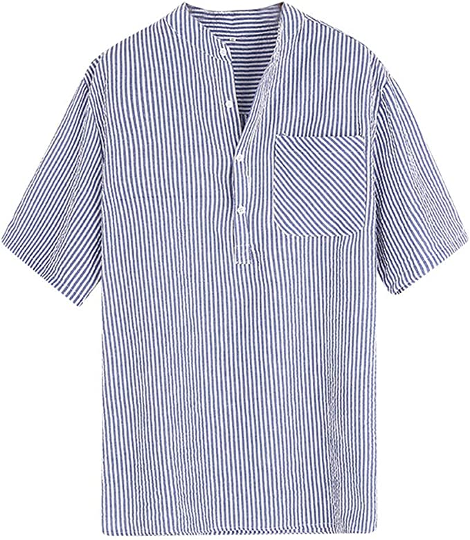 F/_Gotal Mens T-Shirts Fashion Summer Short Sleeve Sriped Print Cotton and Linen Loose Tee Blouse Tops Shirt for Men
