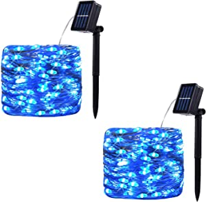 2 Pack 100 LED Solar Powered String Lights, Outdoor Waterproof Copper Wire 8 Modes Fairy Lights for Garden, Patio, Party, Yard, Home (Blue)
