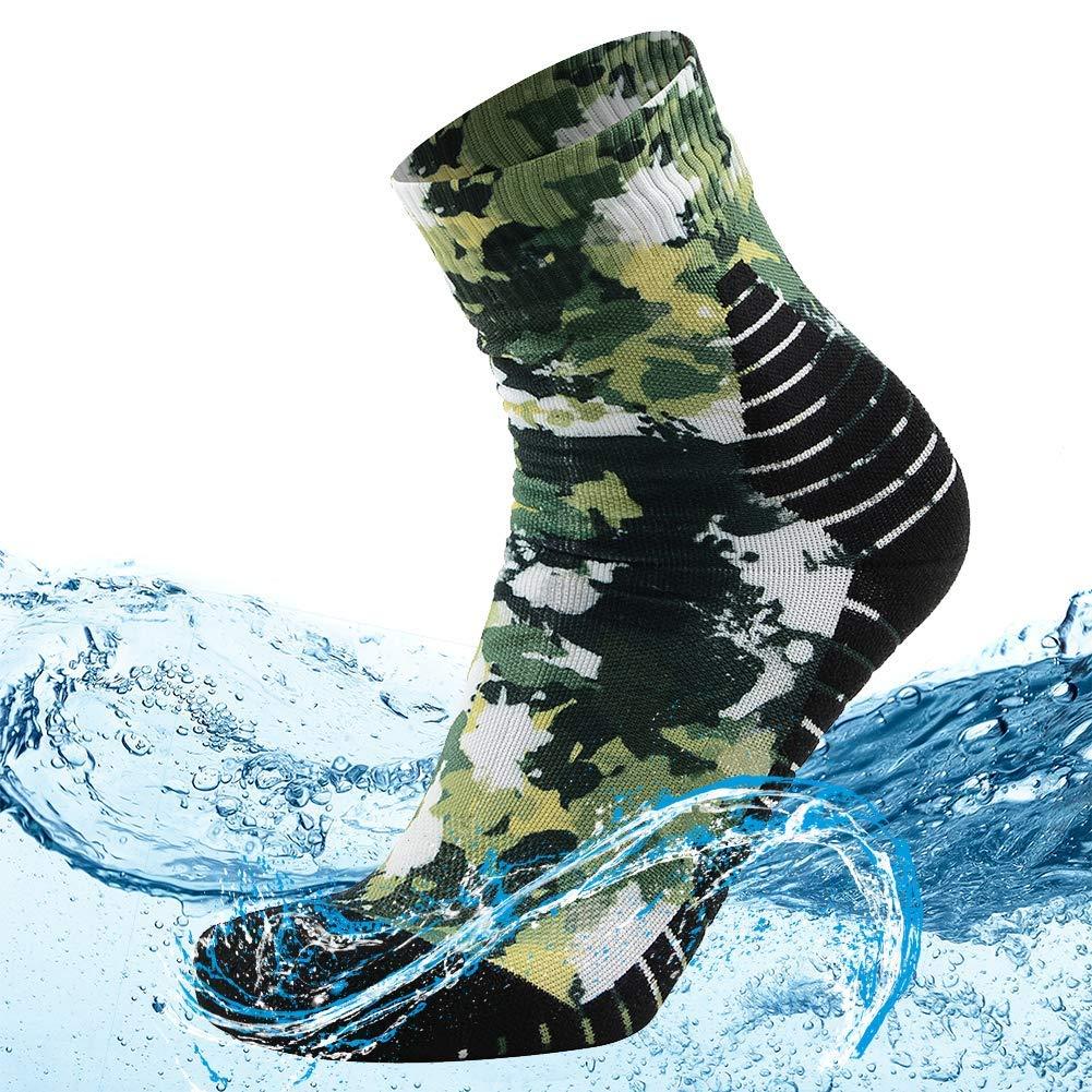 MEIKAN Men's 100% Waterproof Breathable and Windproof Athletic Hiking Trekking Wading Socks for Hiker 1 Pair (Multicolor, Large) by MEIKAN