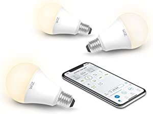 WiZ IZ0026023 60 Watt EQ A19 Smart Wifi Connected LED Light Bulbs/Compatible with Alexa and Google Home, no Hub required, Dimmable Soft White, 3 Count