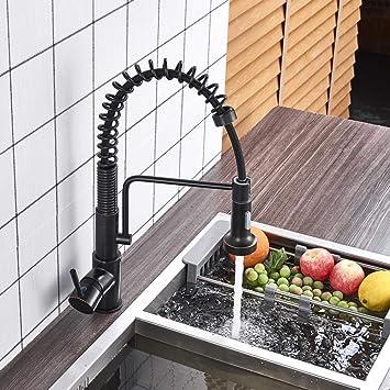 Pull 80cm Kitchen Sink Faucet Spring Single Handle Hot Cold Kitchen Sink Mixer Tap Swivel Spout Kitchen Tap Amazon Com