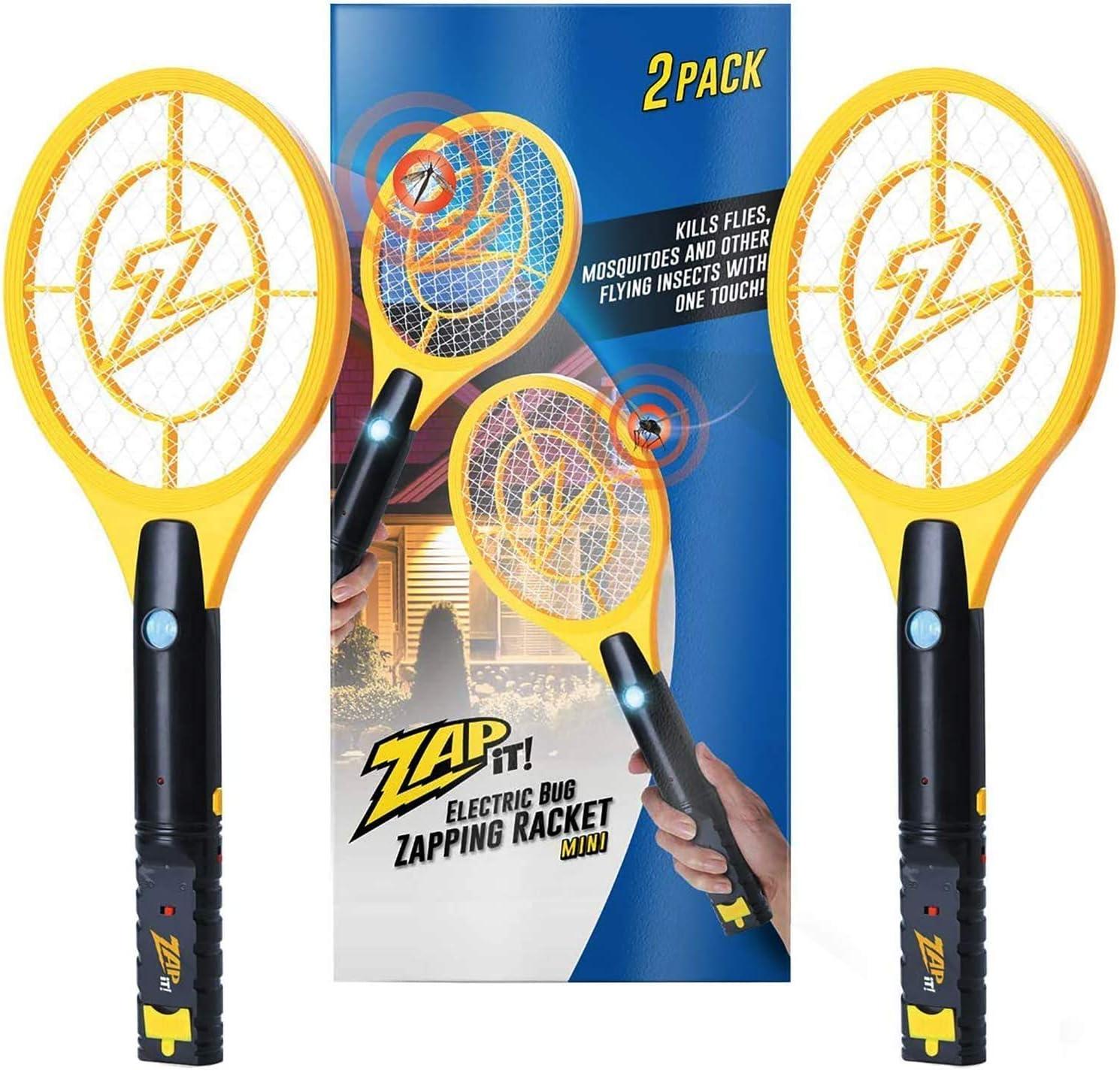 Zap It Bug Zapper Rechargeable Bug Zapper Racket, 4, 000 Volt, USB Charging Cable, 2 Pack : Garden & Outdoor