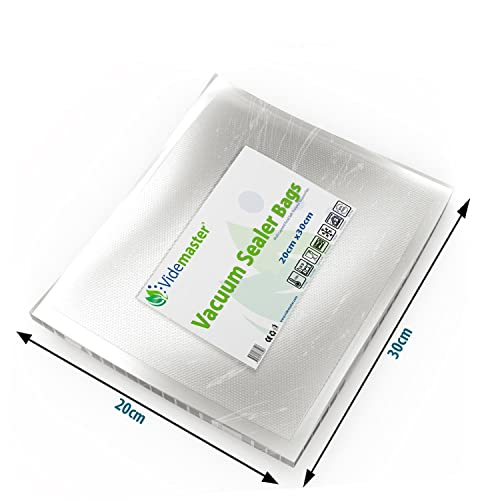 High Quality Embossed Vacuum Food Sealer Bags 20cm x 30cm (Qty 100) by Videmaster