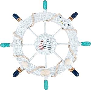 AHANDMAKER Nautical Steering Wheel, Summer Wooden Mediterranean Style Decor, Nautical Boat Steering Rudder Wall Decor, Sailboat Seagulls Wooden Ship Wheel and Wood Anchor for Mediterranean Wall Decor
