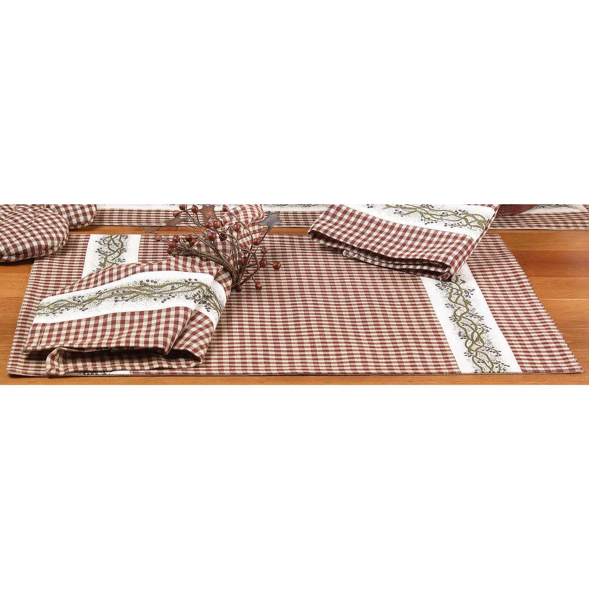 Set of 4 Burgundy Berry Vine Placemat