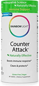 Rainbow Light Counter Attack with Vitamin C and Zinc, Gluten-Free, Vegan, Sugar-Free, 3 Targeted Blends For Overall Immune Support, 90 Tablets