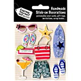 """Express Yourself MIP """"Beach Accessories"""" 3D Stickers, Acrylic, Multicoloured, 3-Piece"""