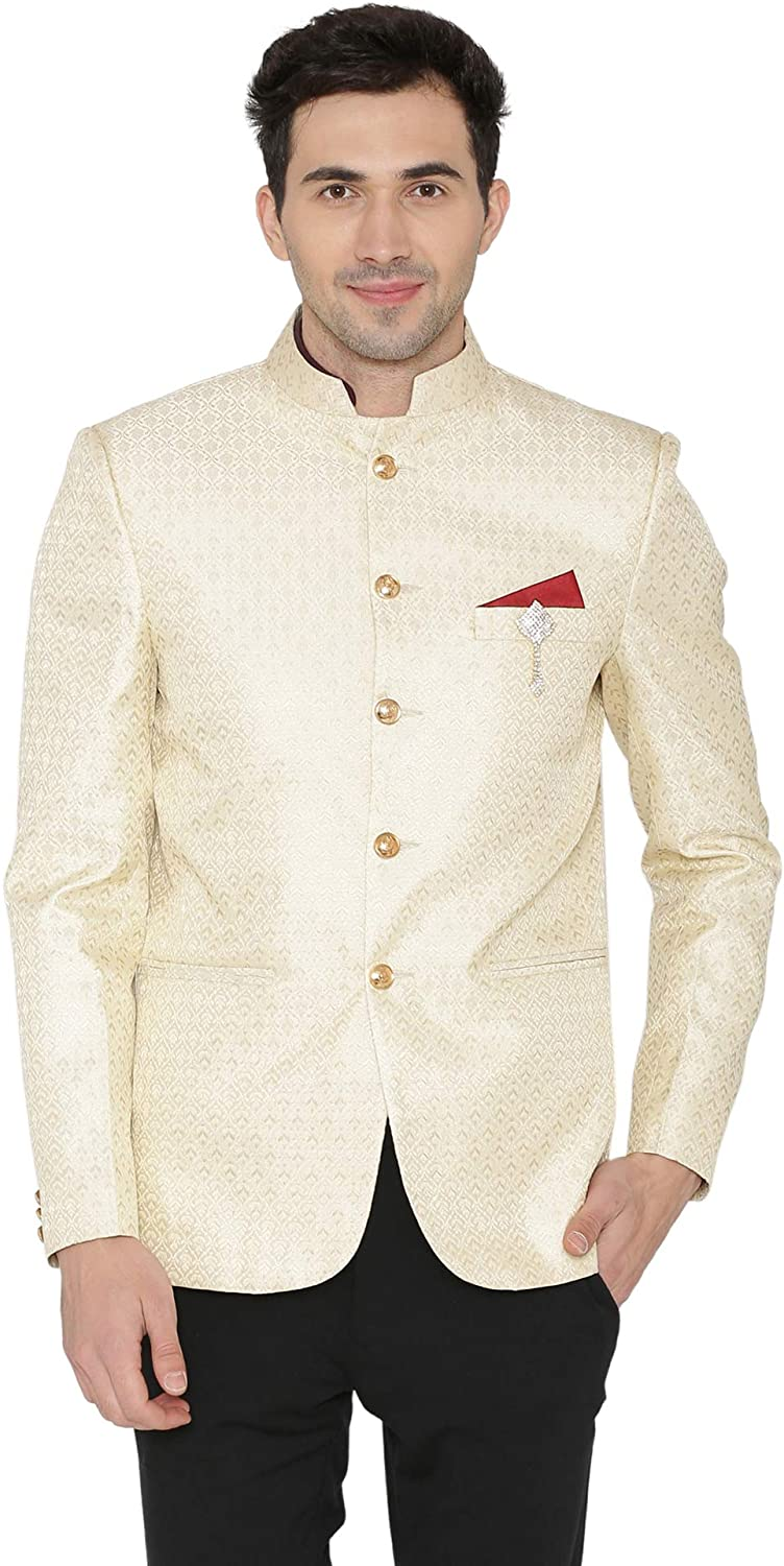 WINTAGE Men's Banarsi Rayon Cotton Casual and Festive Indian Jodhpuri Grandad Bandhgala Blazer : 2 Colors