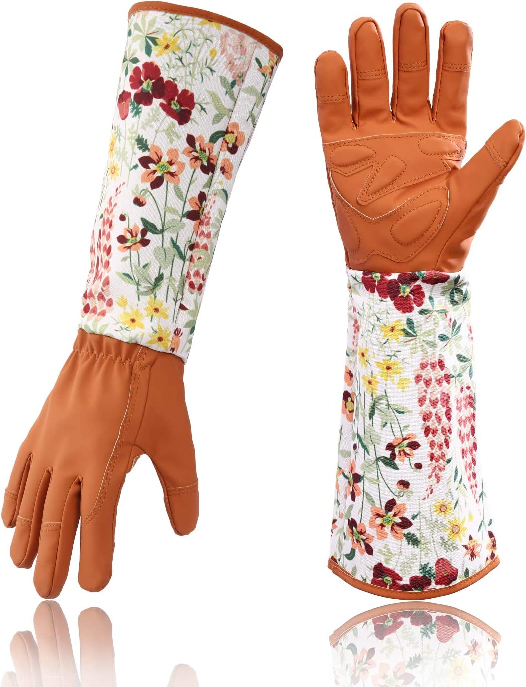 Geloo Women Professional Long Sleeve Trim Gardening Gloves, Garden Gloves (Brown)
