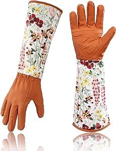 Geloo Women Professional Long Sleeve Trim Gardening Gloves, Garden Gloves (Brown)