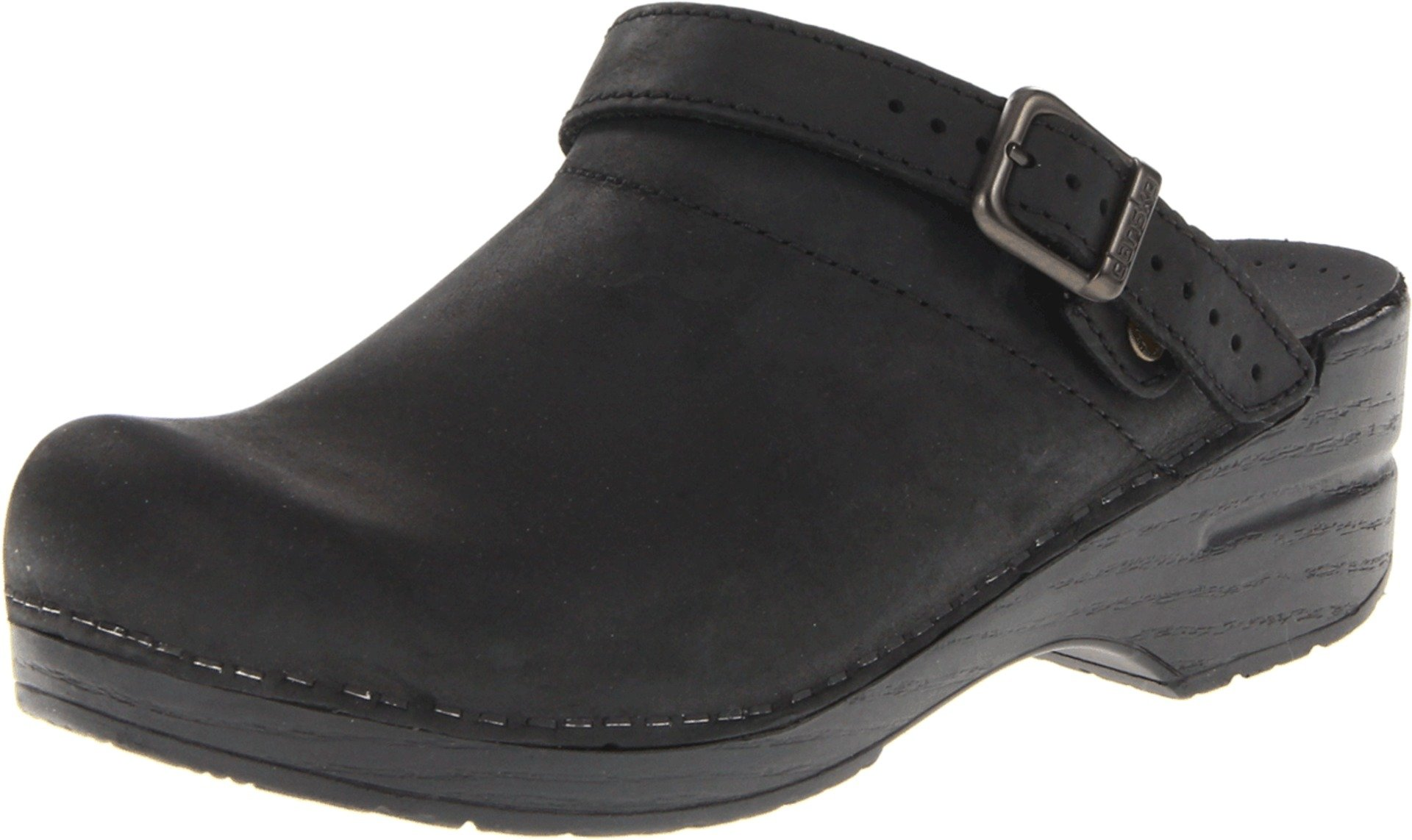 Dansko Women's Ingrid Black Oiled Leather Clogs 39 M