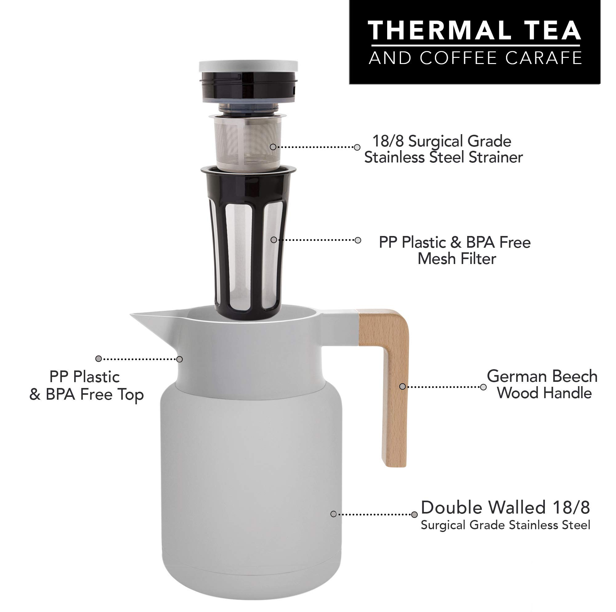 Large Thermal Coffee Carafe - Stainless Steel, Double Walled Thermal Pots For Coffee and Teas by Hastings Collective - Gray, Vacuum Carafes With Removable Tea Infuser and Strainer | 50 Oz. by Hastings Collective (Image #3)