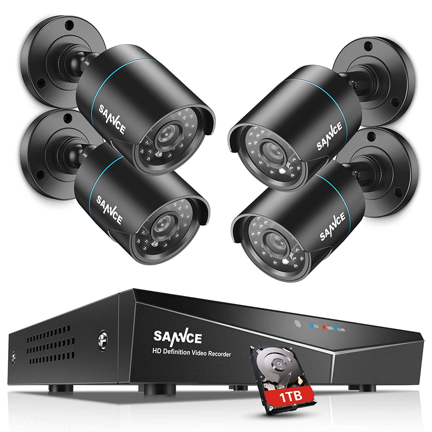 dafe26db9736 SANNCE 5-in-1 8CH 1080N Outdoor Camera System with 1TB Surveillance Hard  Drive and 4pcs AHD720P Weatherproof CCTV Camera