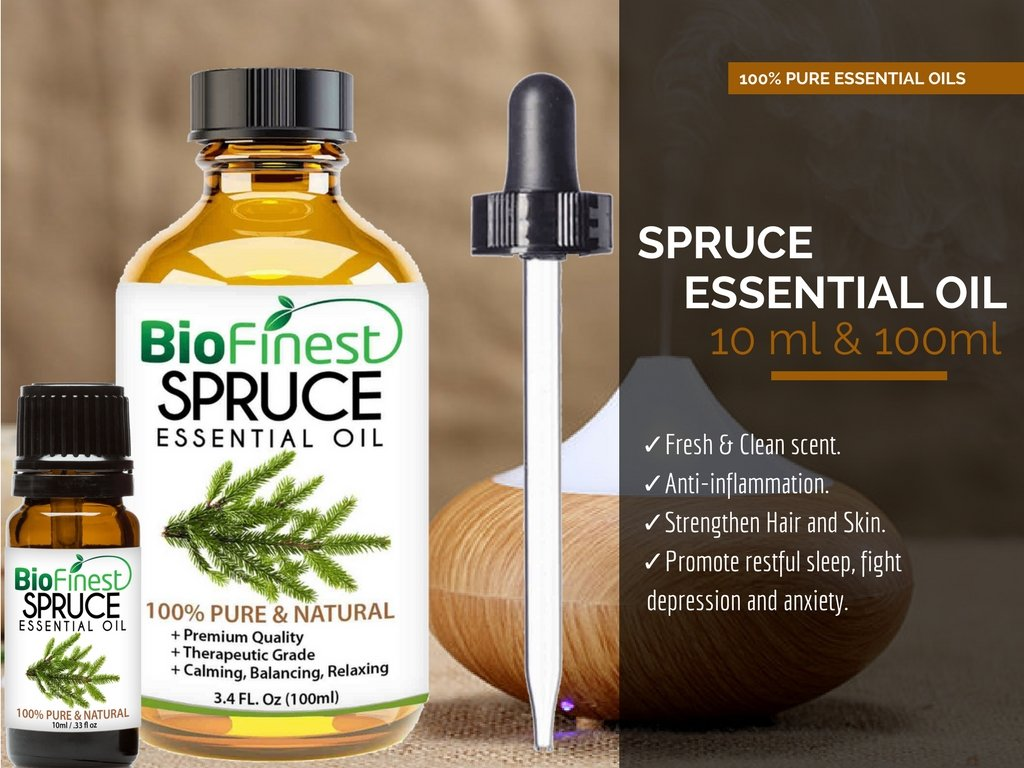 Biofinest Spruce Essential Oil - 100% Pure Organic Therapeutic Grade - Best for Aromatherapy, Skin and Hair Care, Ease Sleep Stress Bad Mood Fatigue Muscle Joint Pain - Free E-Book & Dropper (100ml) by BioFinest (Image #4)