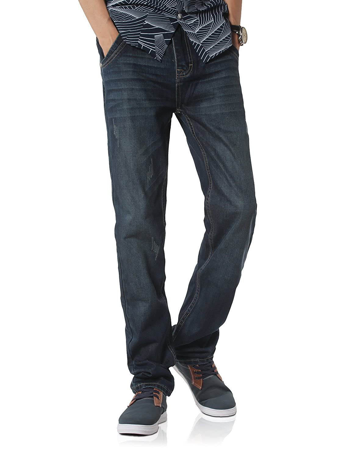 Demon&Hunter Men's Straight Leg Dark Blue Jeans S80L3-1