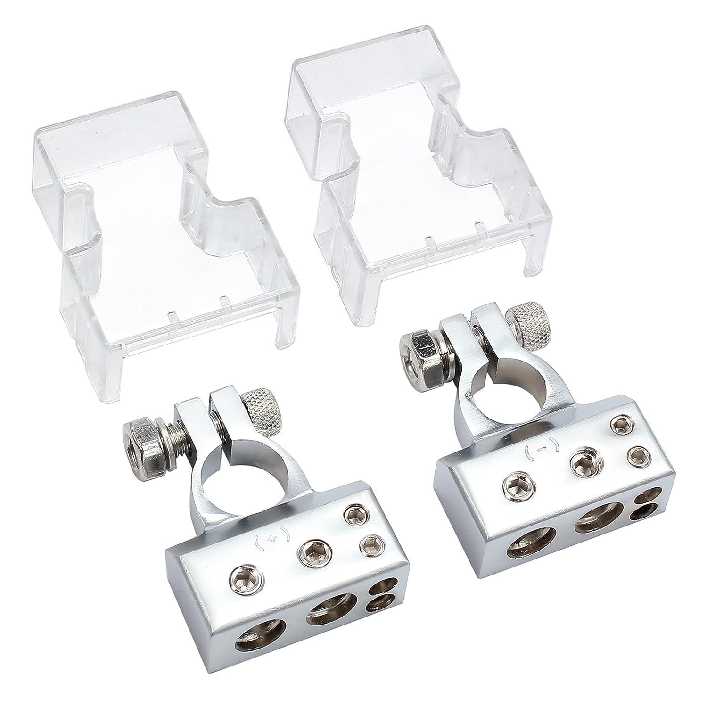 eSynic 2ps Terminales de la Bater/ía del Coche con Cubierta Protectora para Cables de Secci/ón que Fijan Terminales Positivos y Negativos con 4 Salidas 4//8 AWG para Bater/ía de Autom/óvil-Plata